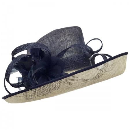 Swan Hats Derby Sinamay Straw 2Tone Off Face Dress Hat