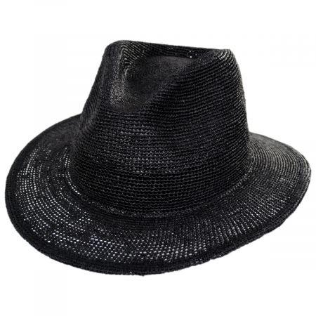 Messer Crochet Raffia Straw Fedora Hat