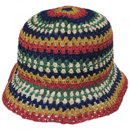 Brixton Hats Essex Crochet Raffia Straw Bucket Hat