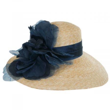 Silk Rose Raffia Straw Lampshade Hat alternate view 2