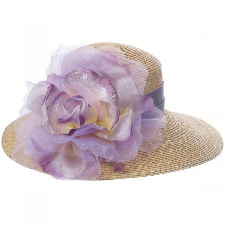 Silk Rose Raffia Straw Lampshade Hat