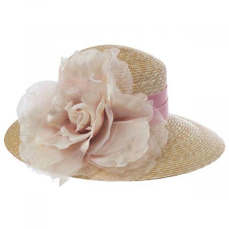 Silk Rose Raffia Straw Lampshade Hat alternate view 6