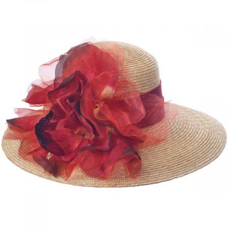 Silk Rose Raffia Straw Lampshade Hat alternate view 7