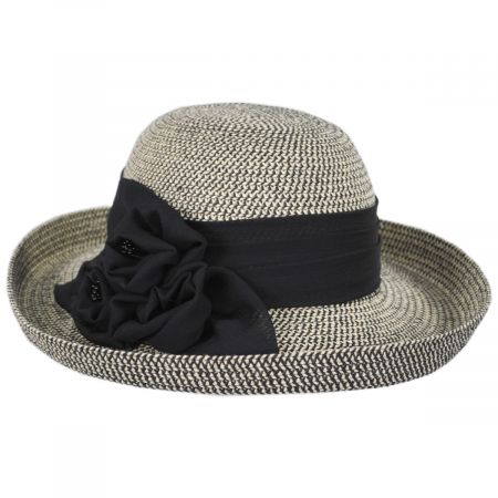 Toucan Collection Crinkle Rose Toyo Straw Roller Hat