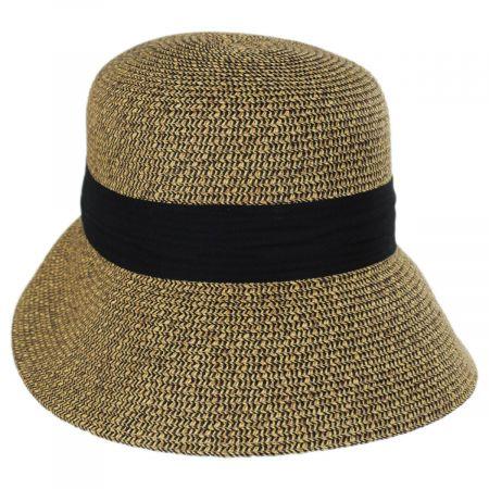 Asymmetrical Brim Toyo Straw Cloche Hat alternate view 1