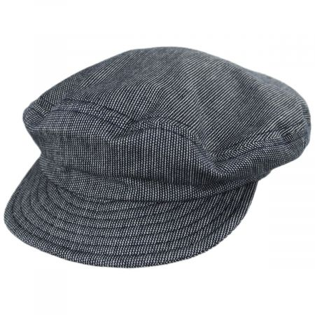 Striped Cotton Blend Unstructured Fiddler Cap
