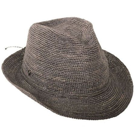 Abaka Crochet Raffia Straw Fedora Hat alternate view 3