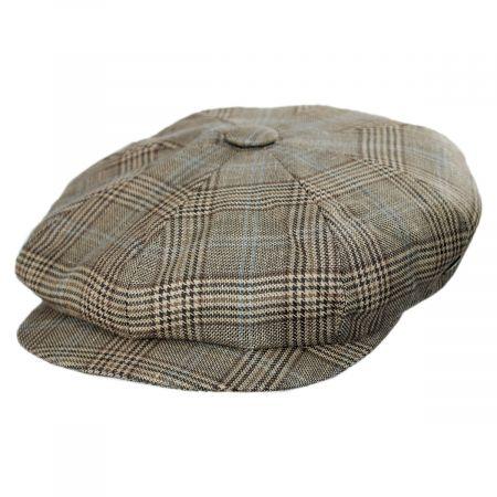 Overcheck Plaid Wool and Linen Newsboy Cap