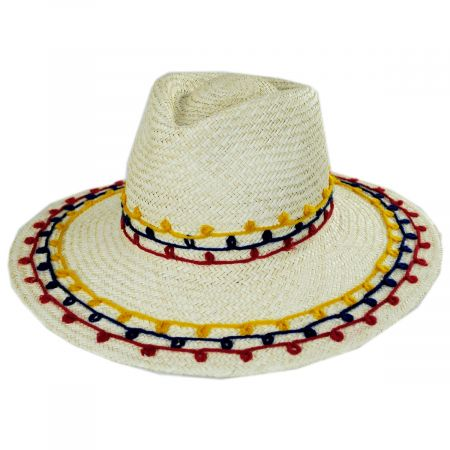 Brixton Hats Joanna Embroidered Palm Straw Fedora Hat