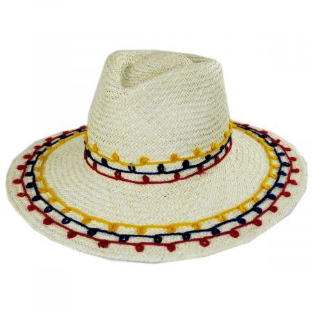 Brixton Hats Joanna Embroidered Palm Straw Fedora Hat