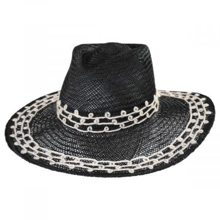 Joanna Embroidered Palm Straw Fedora Hat alternate view 7