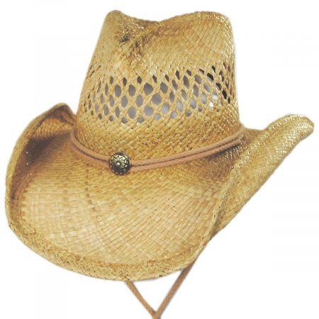 Shady Brady Hudson Raffia Straw Vent Western Hat