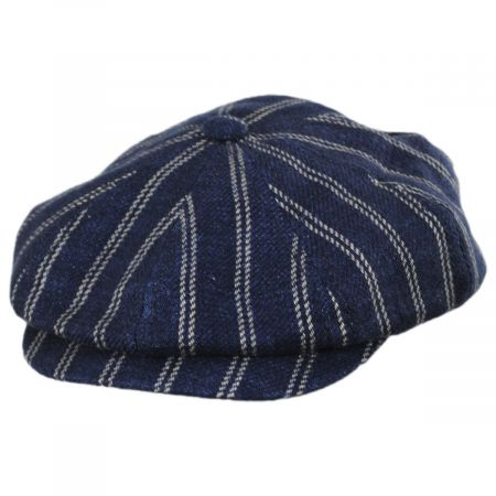 Striped Linen Blend Newsboy Cap alternate view 9