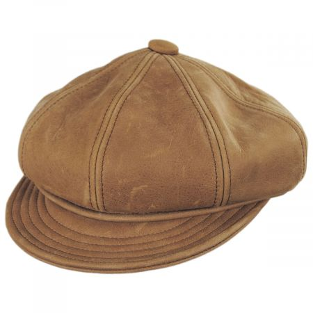 New York Hat Company Vintage Spitfire Leather Newsboy Cap
