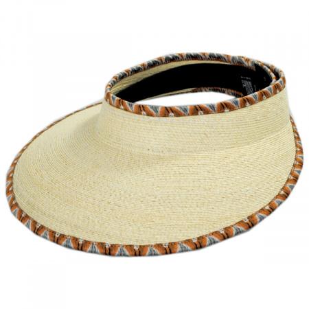 Brixton Hats Bondi Ikat Trim Palm Straw Visor