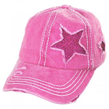 High Ponytail Glitter Star Adjustable Baseball Cap alternate view 2