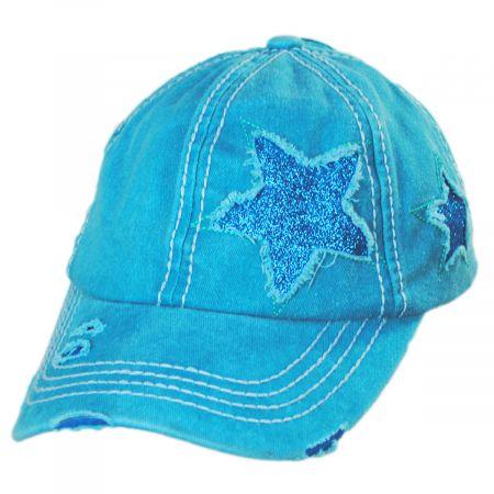C.C PonyCaps High Ponytail Glitter Star Adjustable Baseball Cap