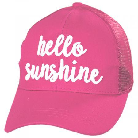 C.C PonyCaps High Ponytail Hello Sunshine Mesh Adjustable Baseball Cap