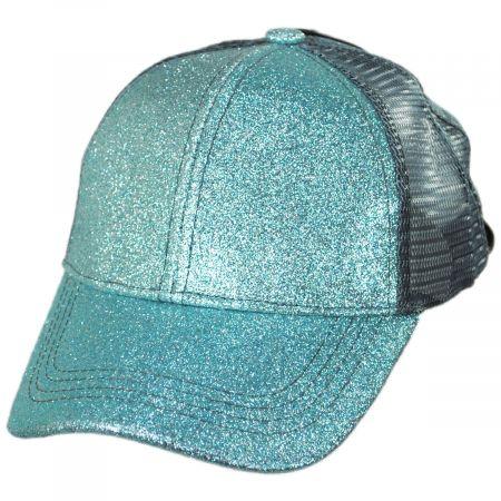 C.C PonyCaps Kids High Ponytail Glitter Mesh Strapback Baseball Cap