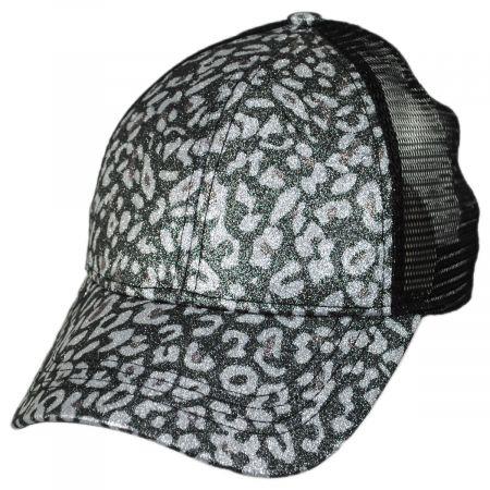 C.C PonyCaps High Ponytail Glitter Leopard Mesh Adjustable Baseball Cap