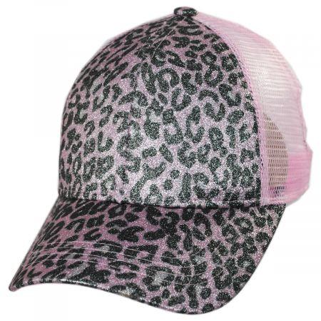 High Ponytail Glitter Leopard Mesh Adjustable Baseball Cap alternate view 17