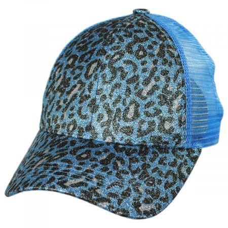 High Ponytail Glitter Leopard Mesh Adjustable Baseball Cap alternate view 13