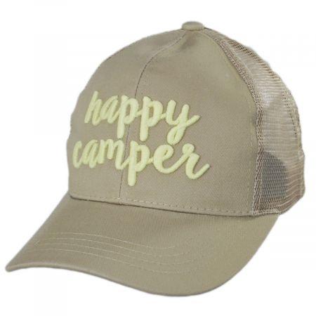 C.C PonyCaps High Ponytail Happy Camper Mesh Adjustable Baseball Cap