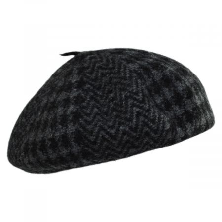 Herringbone Houndstooth Wool Beret alternate view 7