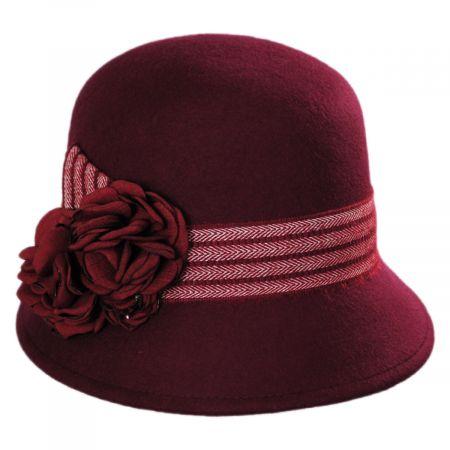 Jeanne Simmons Chevron Fleur Wool Felt Cloche Hat