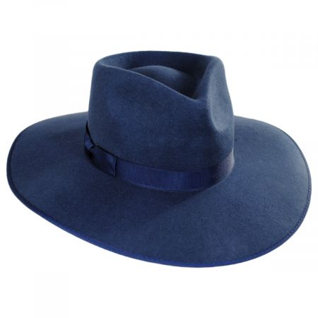 Rancher Navy Blue Wool Felt Fedora Hat