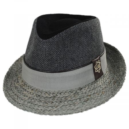 Carlos Santana Journey Wool and Raffia Straw Fedora Hat