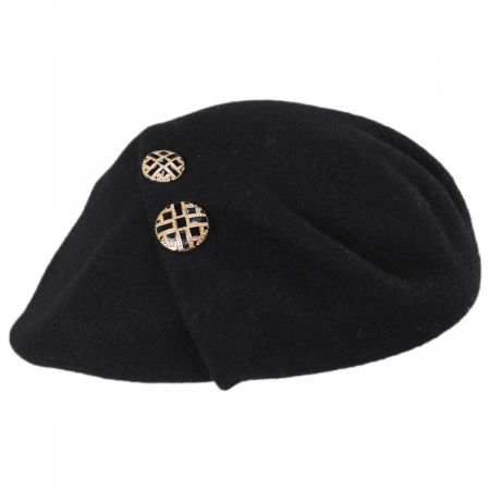 Jackie Button Wool Beret