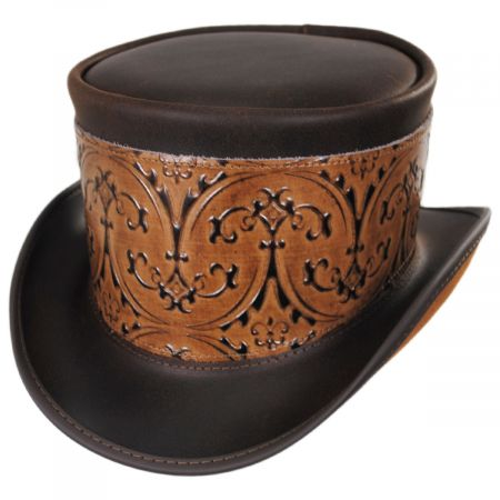Head 'N Home El Dorado Leather Top Hat with Brown Heraldic Hat Wrap Band