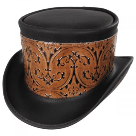 El Dorado Leather Top Hat with Brown Heraldic Hat Wrap Band alternate view 1