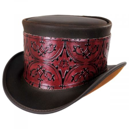 El Dorado Leather Top Hat with Red Heraldic Hat Wrap Band alternate view 2