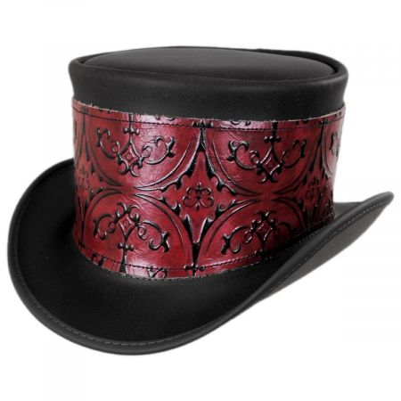 Head 'N Home El Dorado Leather Top Hat with Red Heraldic Hat Wrap Band