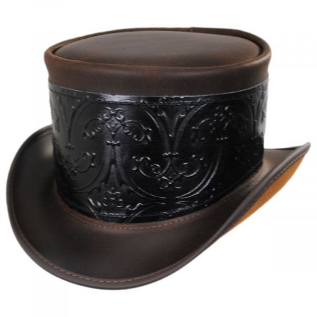 El Dorado Leather Top Hat with Black Heraldic Hat Wrap Band alternate view 5