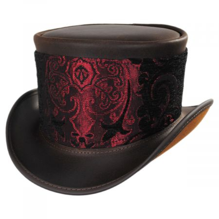 Head 'N Home El Dorado Leather Top Hat with Red Medallion Hat Wrap Band