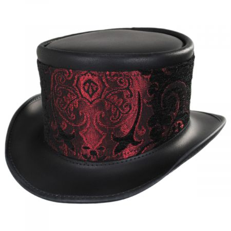 El Dorado Leather Top Hat with Red Medallion Hat Wrap Band alternate view 1