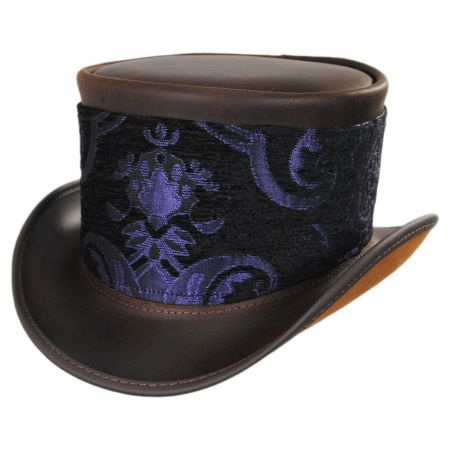 Head 'N Home El Dorado Leather Top Hat with Purple Medallion Hat Wrap Band