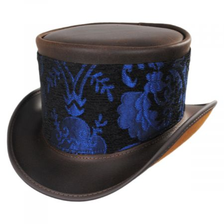 Head 'N Home El Dorado Leather Top Hat with Blue Medallion Hat Wrap Band