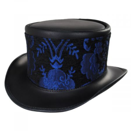 El Dorado Leather Top Hat with Blue Medallion Hat Wrap Band alternate view 1