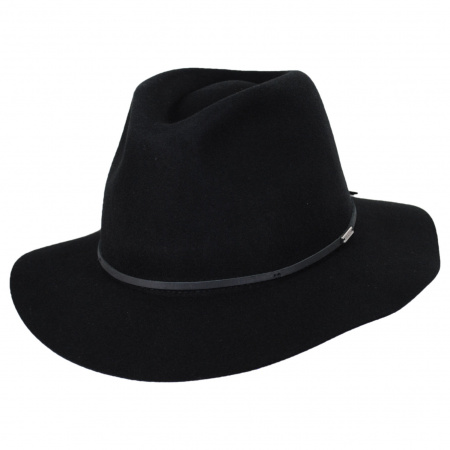 Wesley Black Wool Felt Floppy Fedora Hat