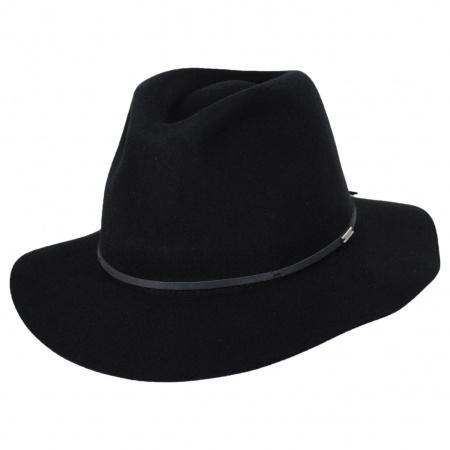 Brixton Hats Wesley Black Wool Felt Floppy Fedora Hat