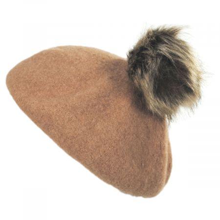4f77b2134 Kids Faux Fur Pom Wool Beret