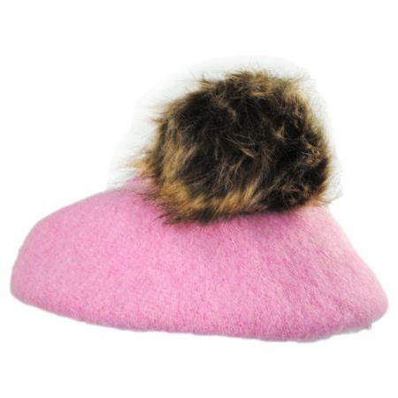 Kids Faux Fur Pom Wool Beret alternate view 4