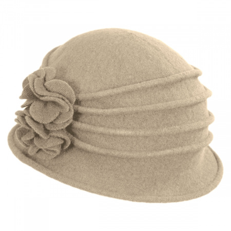 Scala Boiled Wool Cloche Hat