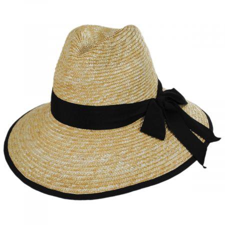 Gottex Celine Milan Straw Downbrim Fedora Hat