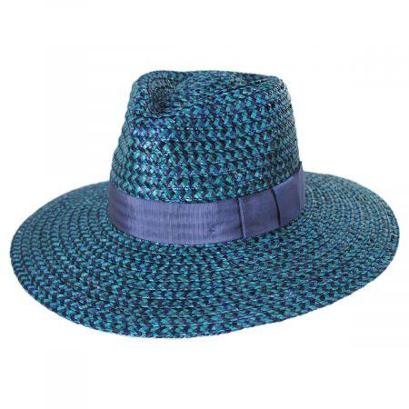 Brixton Hats Joanna Blue/Navy Wheat Straw Fedora Hat