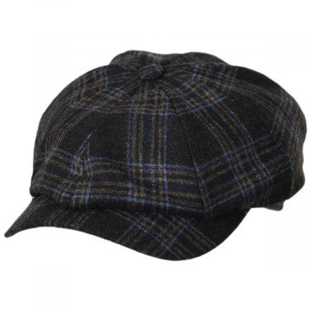 Wigens Caps Classic Plaid Wool and Silk Blend Newsboy Cap
